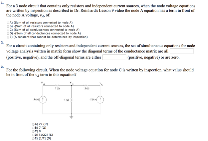 For a 3 node circuit that contains only resistors