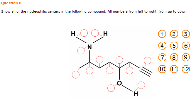 Show all of the nucleophilic centers in the follow