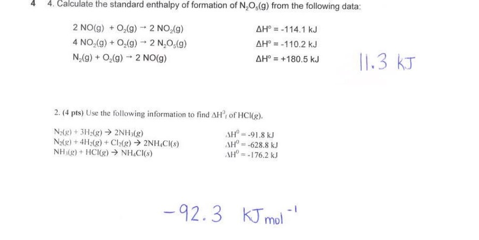 Calculate the standard enthalpy of formation of N2