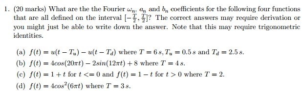 What are the Fourier omega n, a n and b n coeffici
