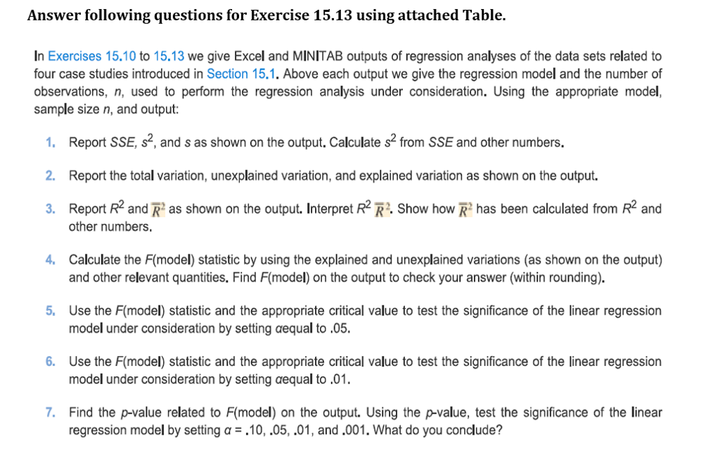 Solved: Answer Following Questions For Exercise 15.13 Usin ...