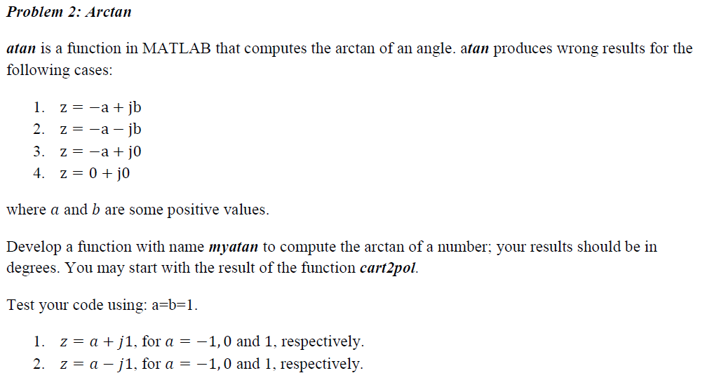 atan is a function in matlab that computes the arc com atan is a function in matlab that computes the arc