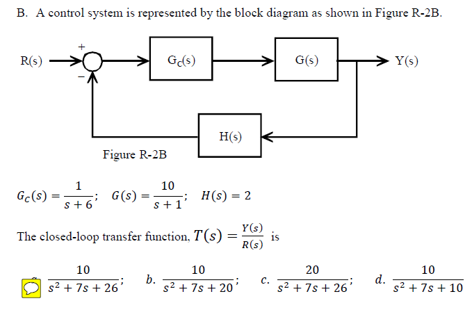 A control system is represented by the block diagr