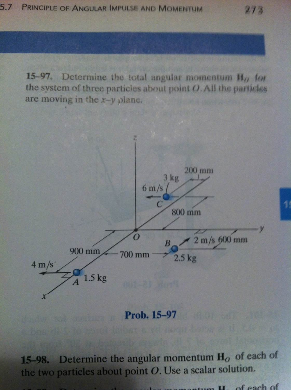 Determine the total angular momentum H0 for the sy