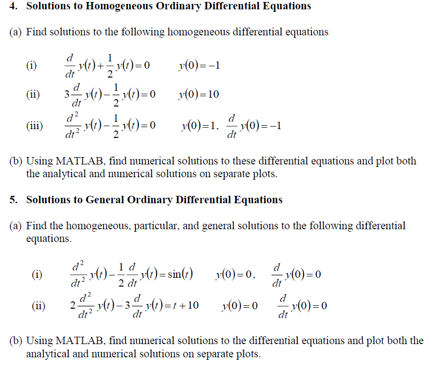 Solutions to Homogeneous Ordinary Differential Equ