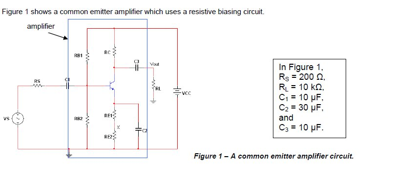 Figure 1 shows a common emitter amplifier which us chegg figure 1 shows a common emitter amplifier which uses a resistive biasing circuit amplifier rc ccuart Choice Image