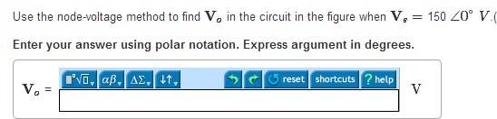 Use the node-voltage method to find V0 in the circ