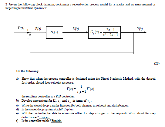 Given the following block diagram, containing a se