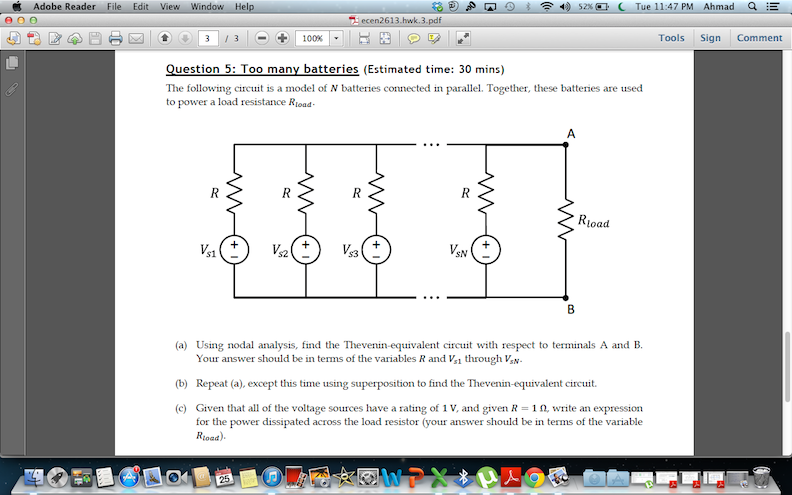 The following circuit is a model of .N batteries c