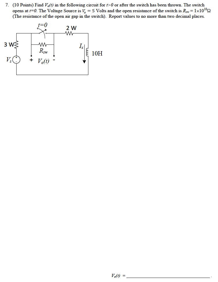 Find V0(t) in the following circuit for t>0 or aft