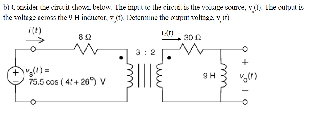 Find V2 and I2 (in phasor format) given that Vs =