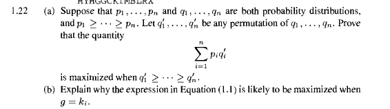 Suppose that p1,...,pn and q1,...,qn are both prob