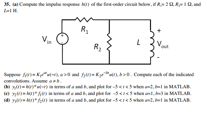 Compute the impulse response h(t) of the first-ord
