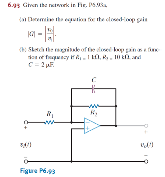Given the network in Fig. P6.93a, Determine the e