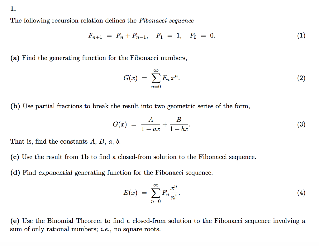 Solved The Following Recursion Relation Defines The Fibon