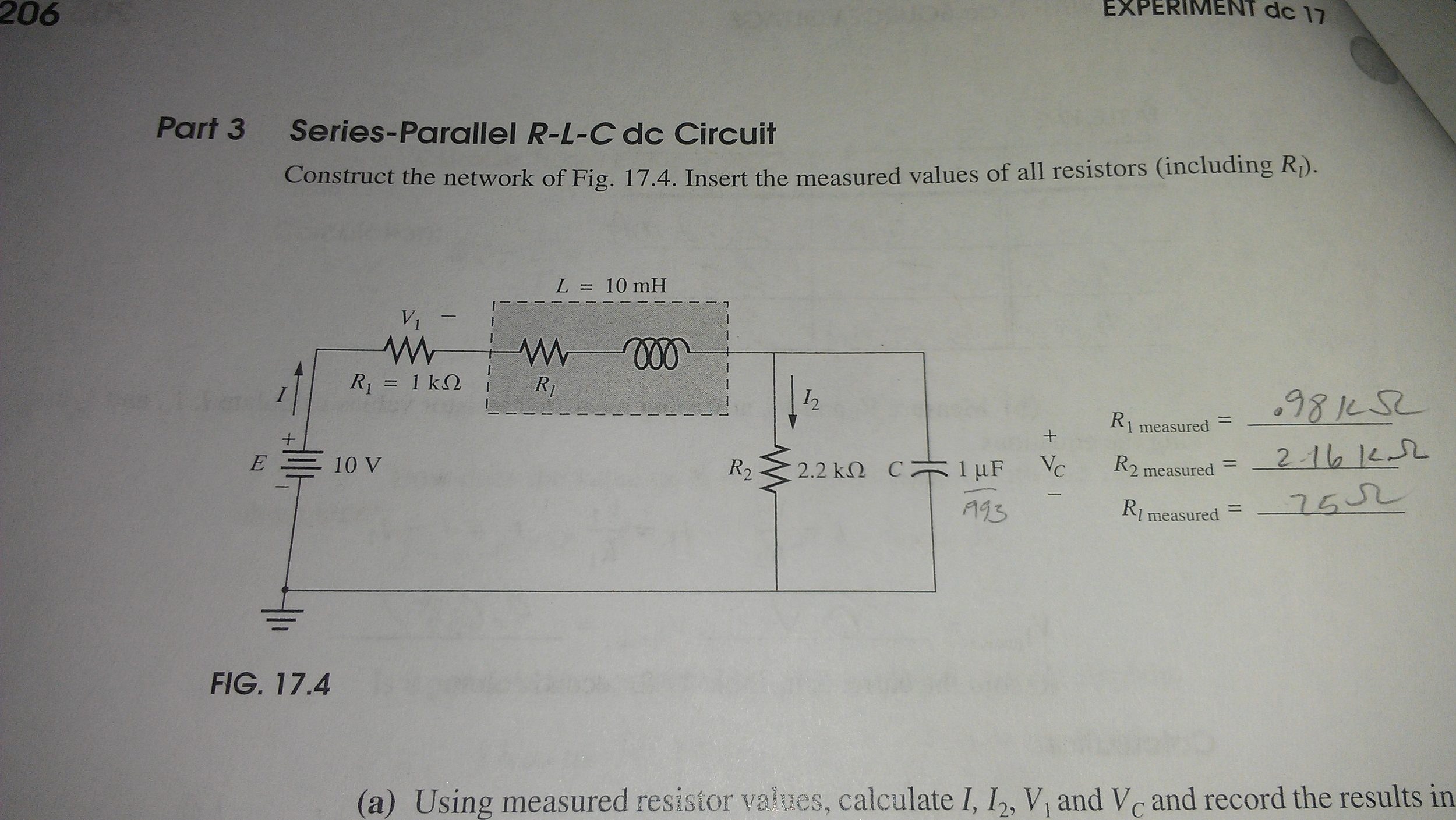 Series-Parallel R-L-C dc Circuit Construct the ne