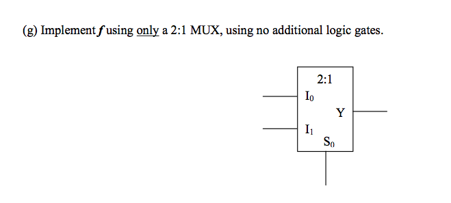 Implement f using only a 2:1 MUX, using no additio