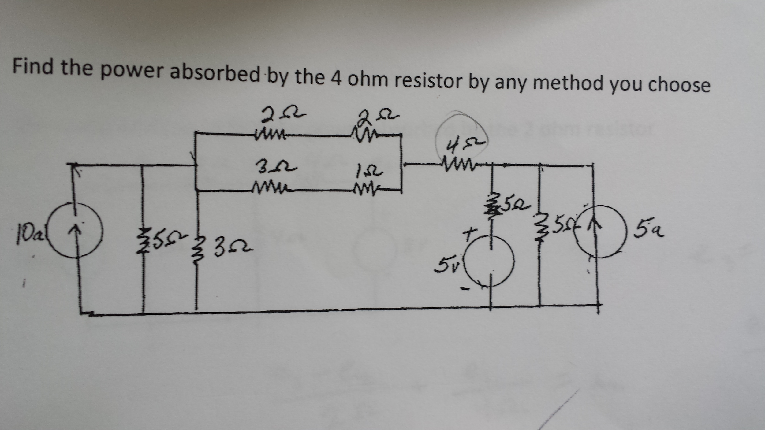 Find the power absorbed by the 4 Ohm resistor by a
