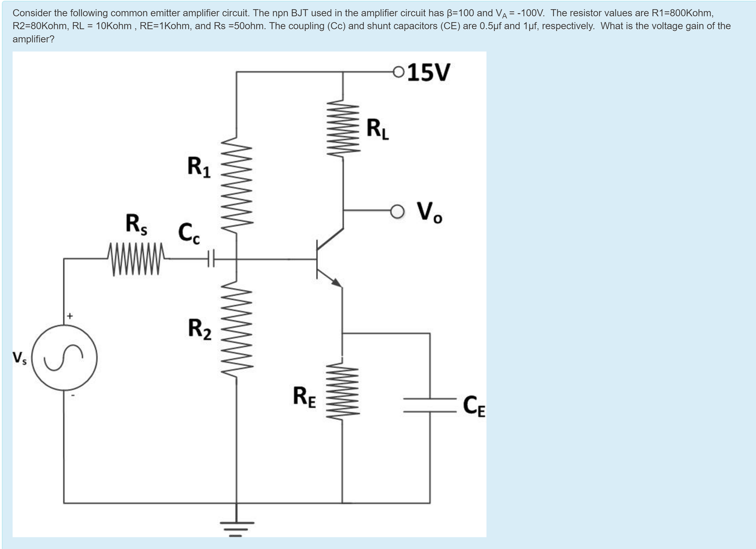 Solved consider the following common emitter amplifier ci consider the following common emitter amplifier ci ccuart Image collections