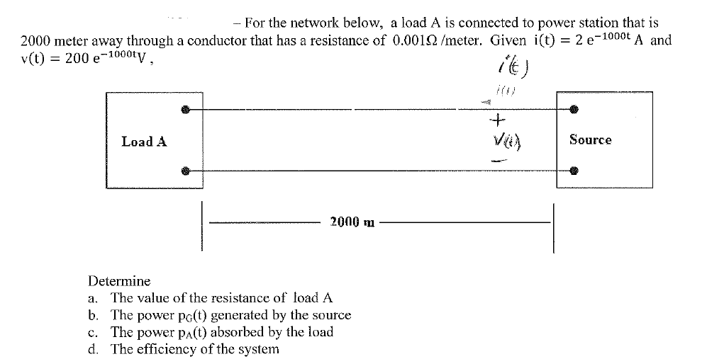For the network below, a load A is connected to po