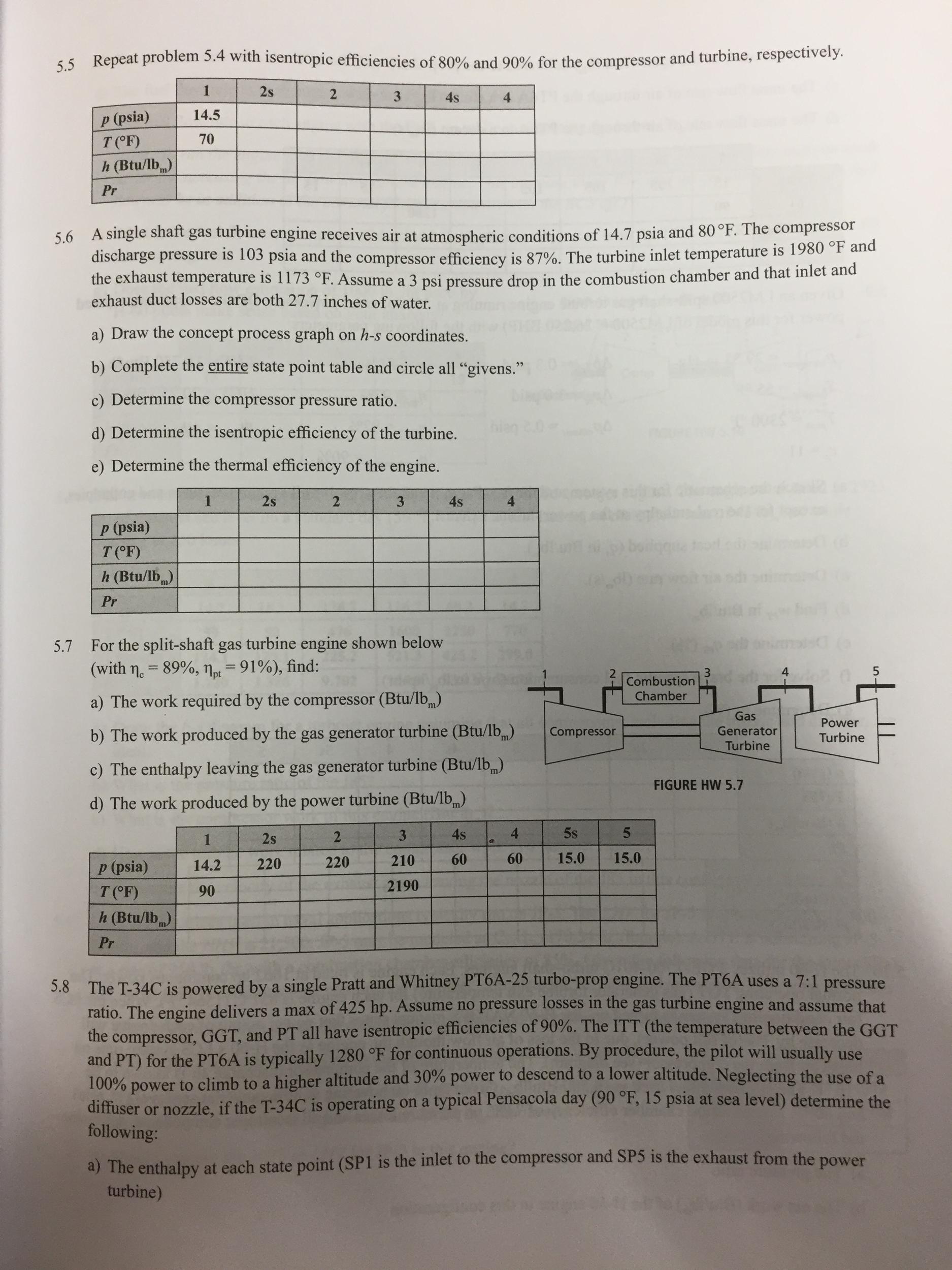 Repeat Problem 5 4 With Isentropic Efficiencies