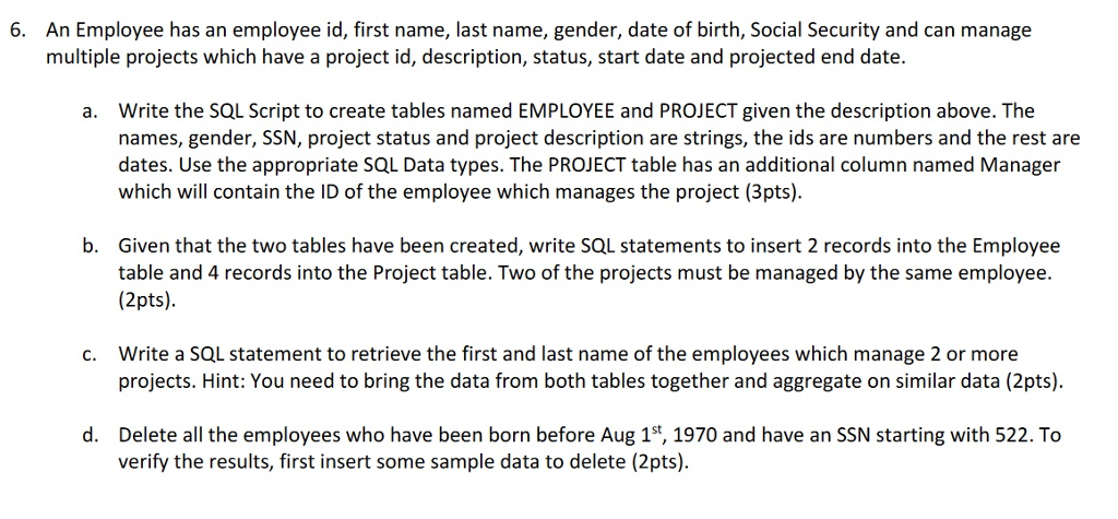 An Employee Has Id First Name Last Gender