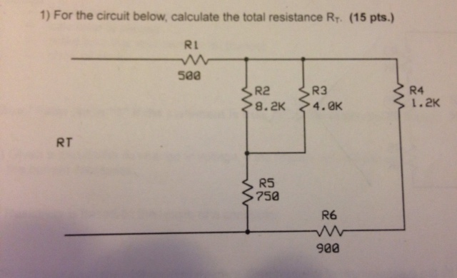 For the circuit below, calculate the total resista