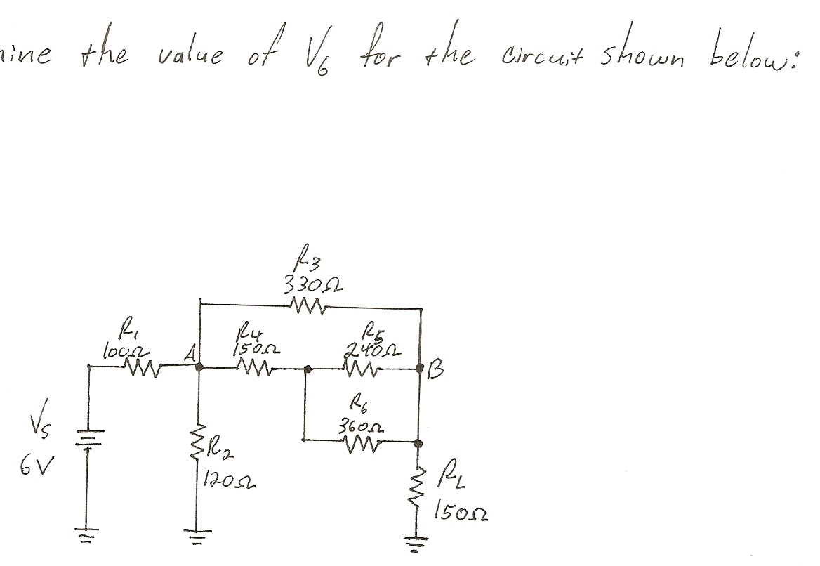 line the value of V6 for the circuit shown below: