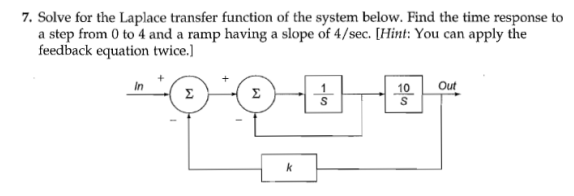 Solve for the Laplace transfer function of the sys