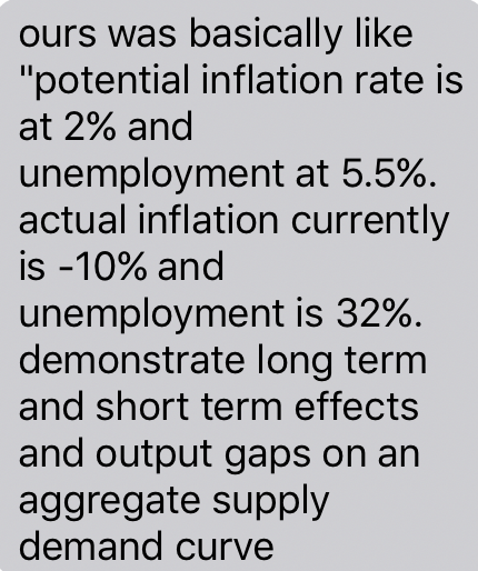 """Question: Ours was basically like """"potential inflation rate is at 2% and unemployment at 5.5%. actual infla..."""