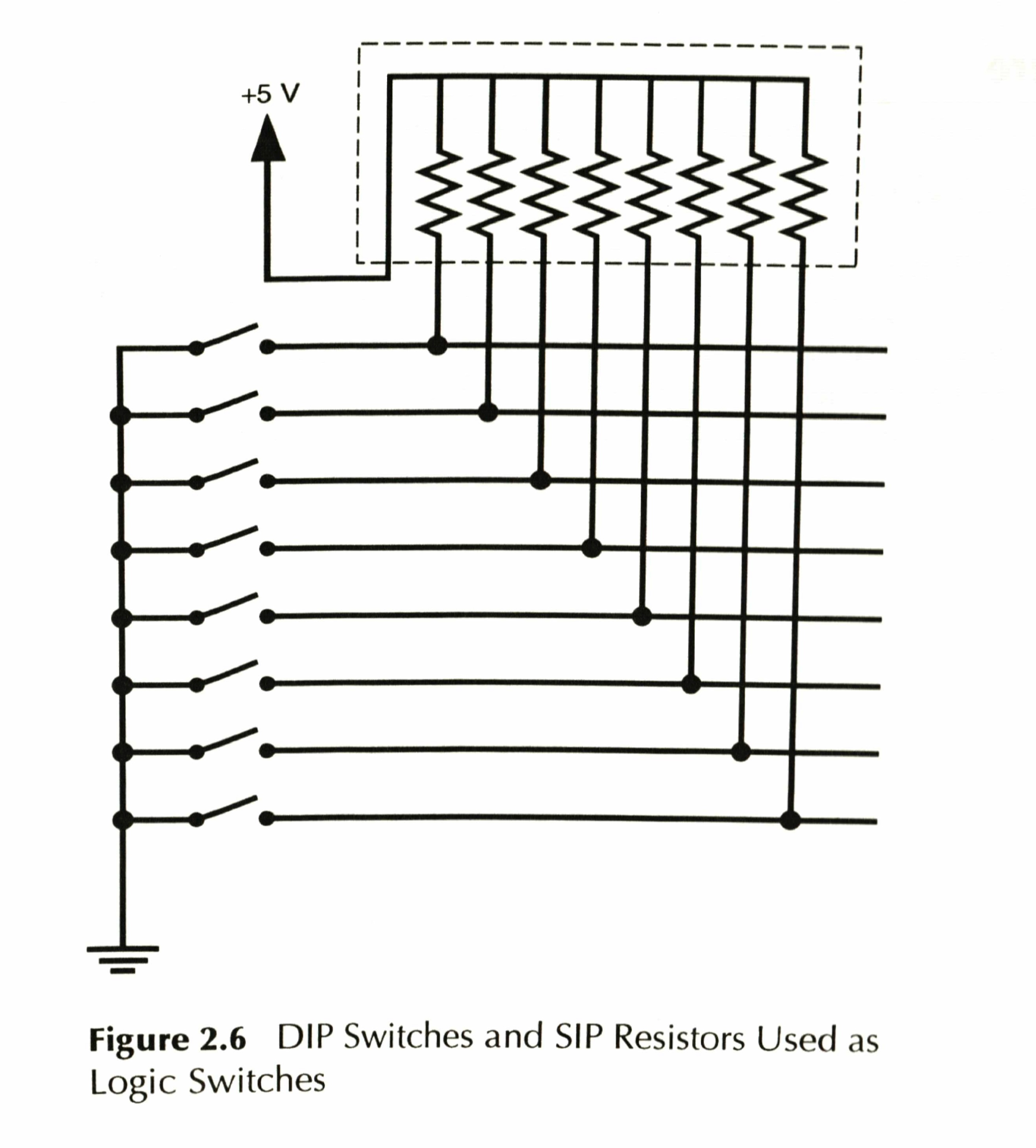 Figure 2.6 DIP Switches and SIP Resistors Used as