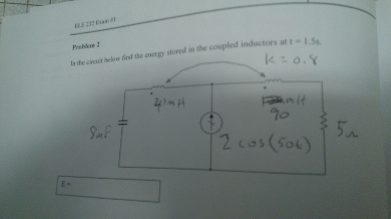 In the circuit below find the energy stored in the