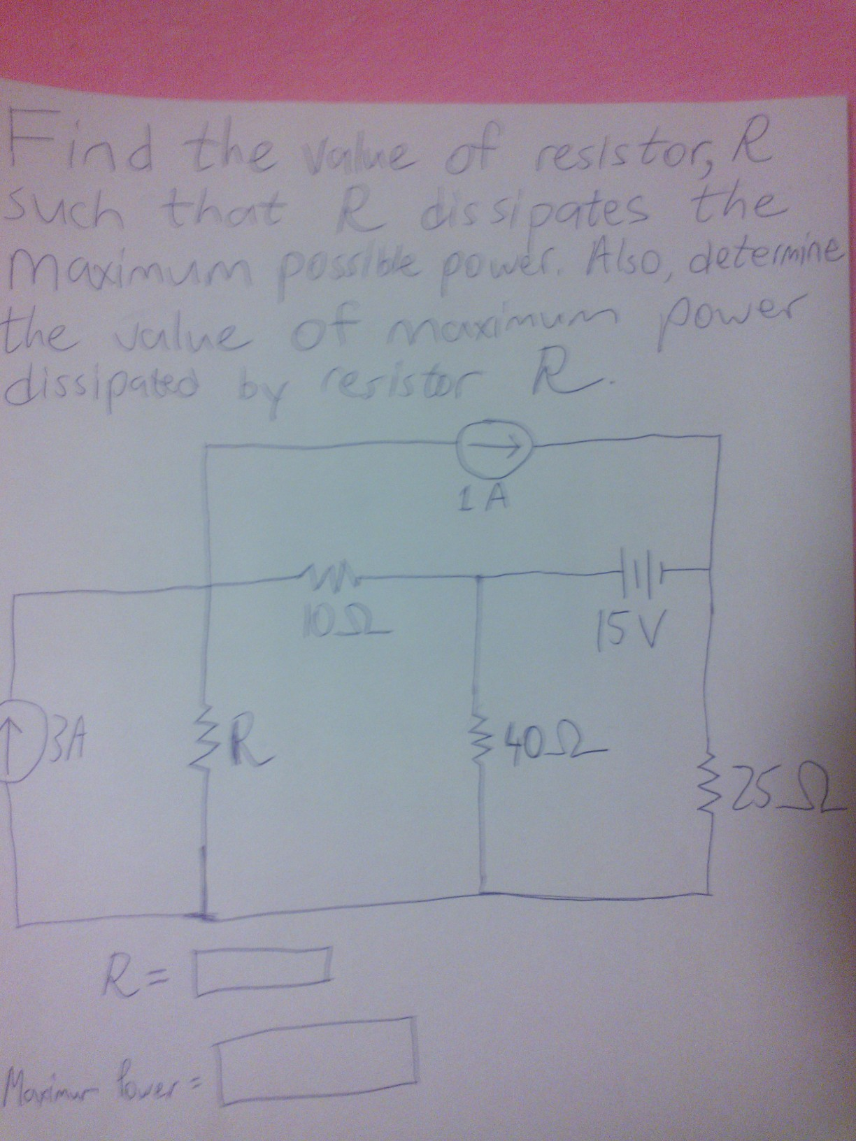Find the value of resistor, R such that R dissipat