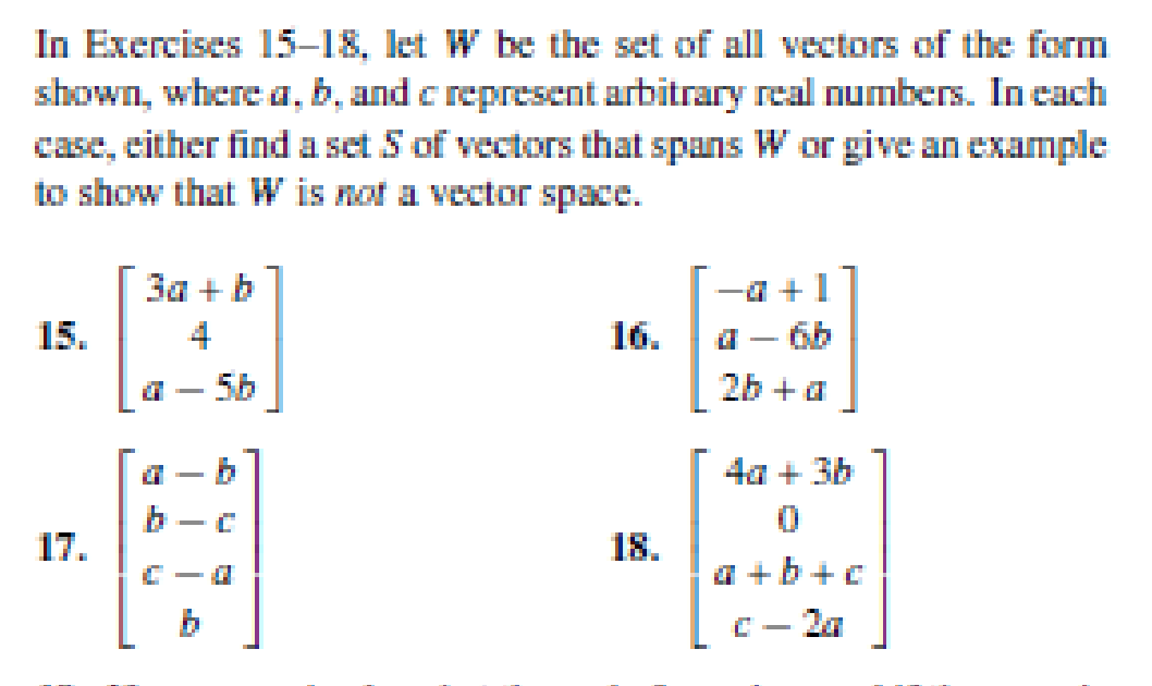 Solved: Let W Be The Set Of All Vectors Of The Form Shown ...