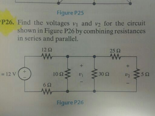 Find the voltages v1 and v2 for the circuit shown