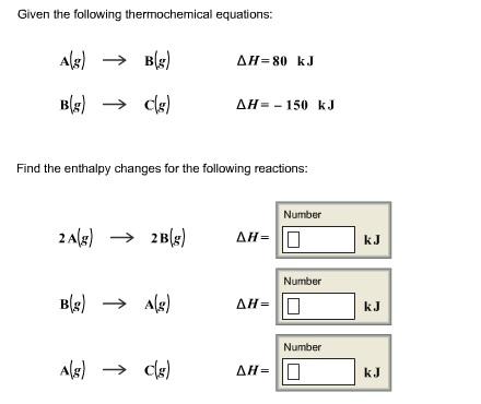 how to find enthalpy change given 2 equations