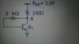 In the circuit, VX = 1.1 V. If Beta = 200 and VA =