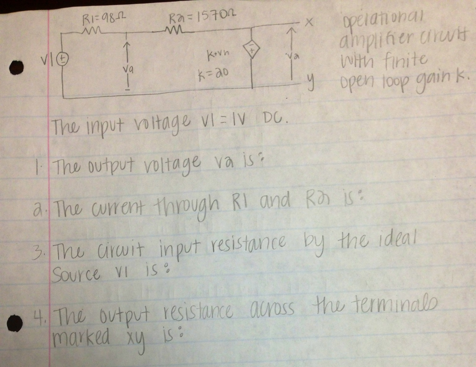 The input voltage V1 = 1V DC. The output voltage