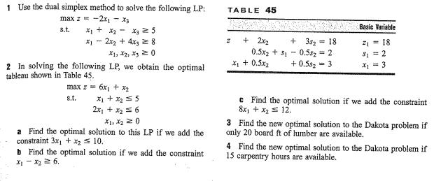 Use the dual simplex method to solve the following
