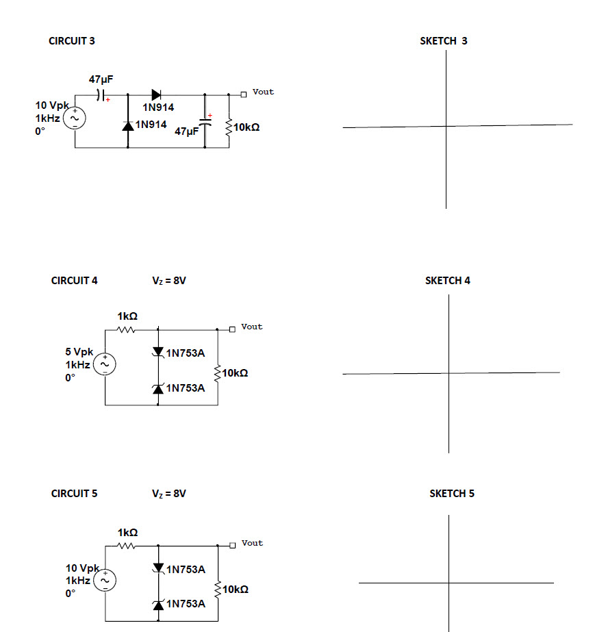 Sketch the expected waveform of the output voltage