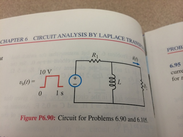 The circuit in 6.0 is excited by a 10-V 1-long rec