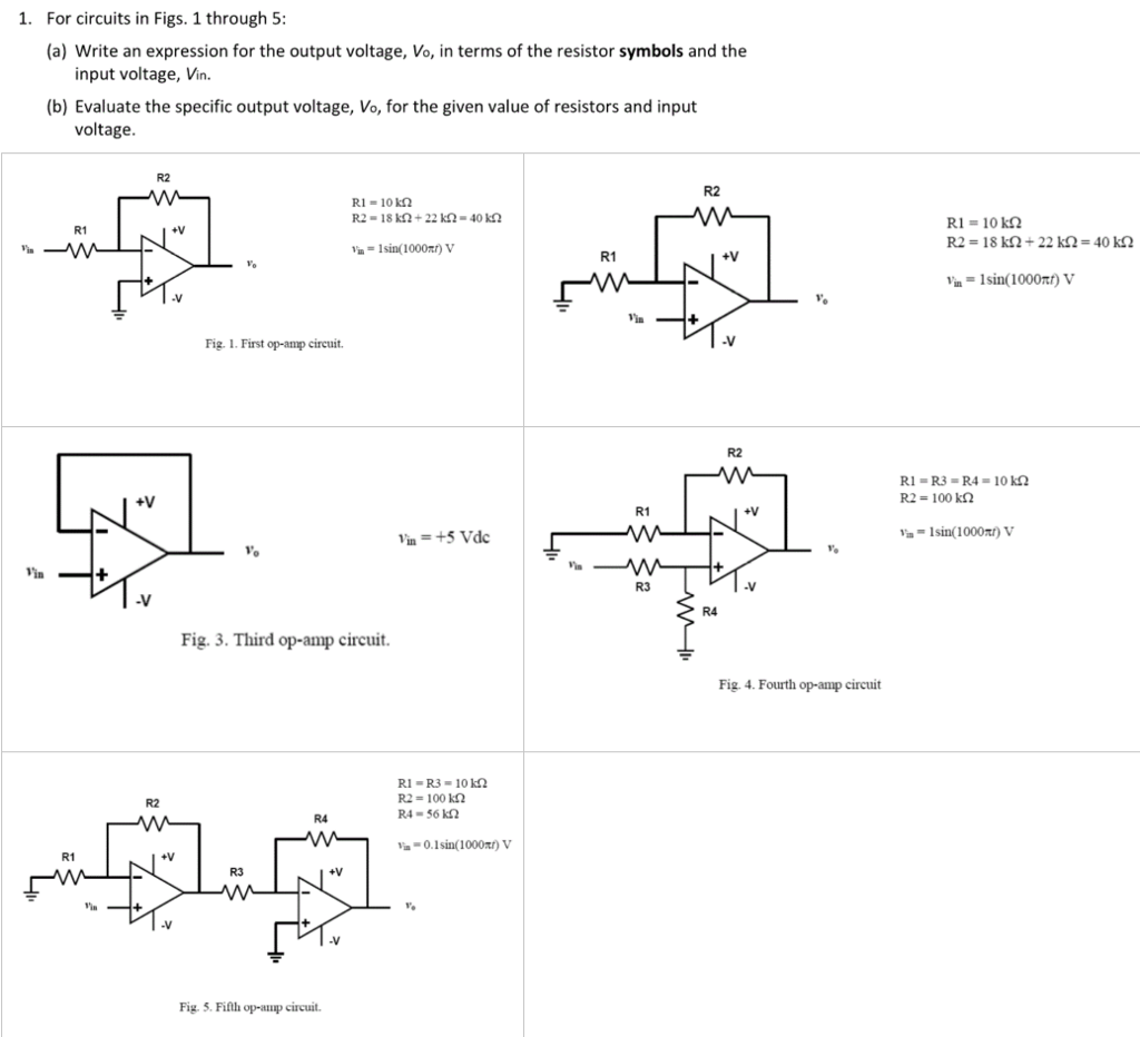 Solved 1 for circuits in figs 1 through 5 a write an question 1 for circuits in figs 1 through 5 a write an expression for the output voltage vo in term biocorpaavc Image collections