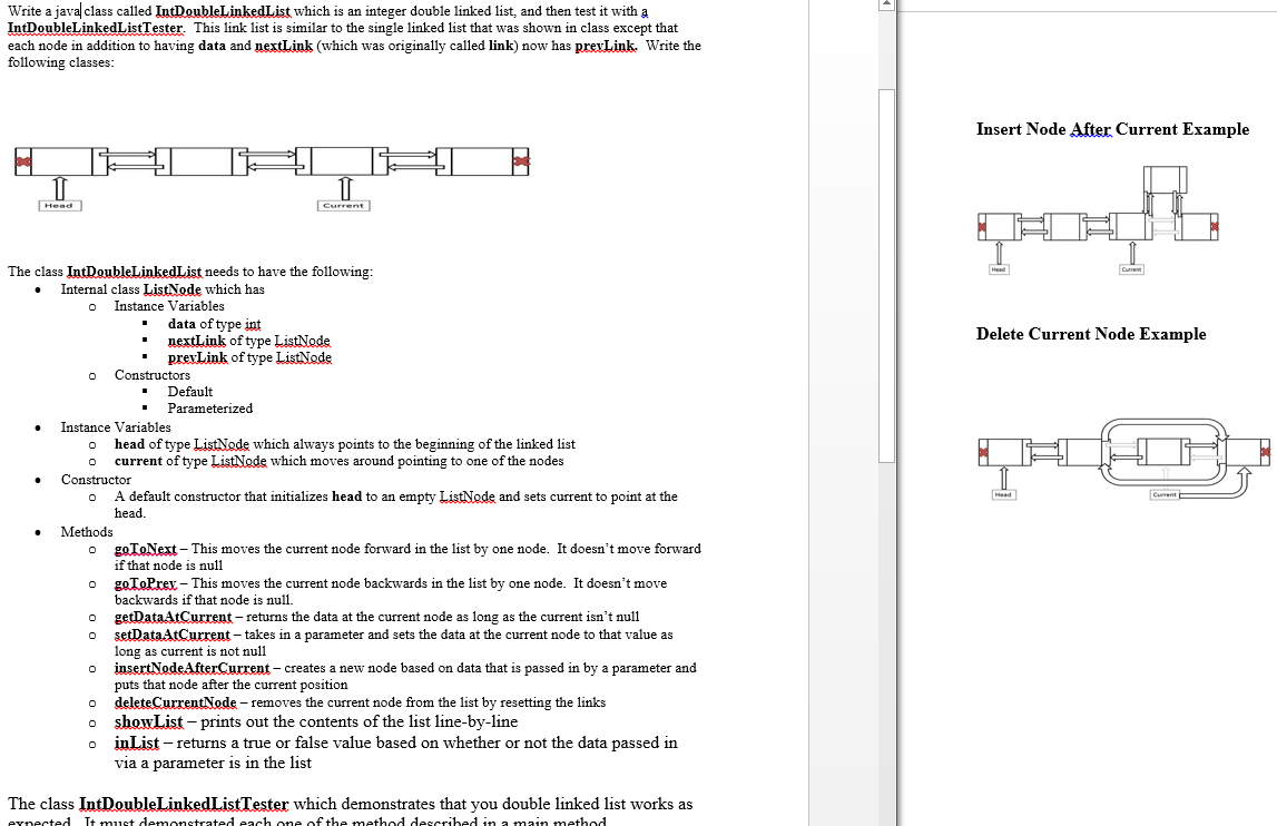 Solved Write A Java Class Called Ind Double Linked List W