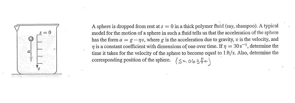 A sphere is dropped from rest at s = 0 in a thick