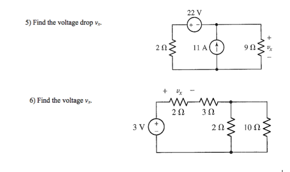 Find the voltage drop vx. Find the voltage vx.