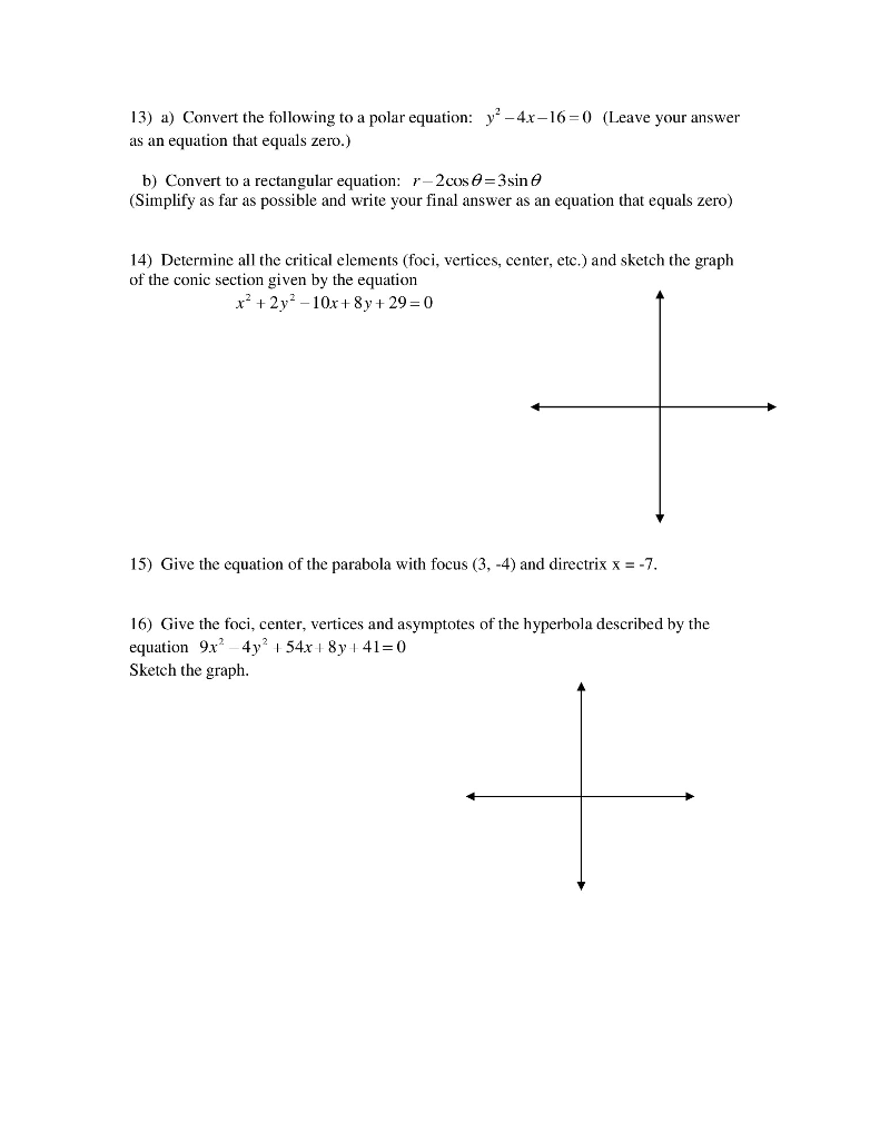 Precalculus Archive April 17 2017 – Hyperbola Worksheet