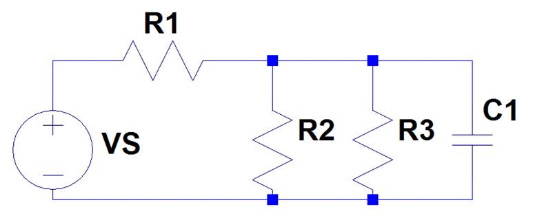In the circuit, C1=1.9 uF, R1=3 k, R2=6 k, R3=17 k