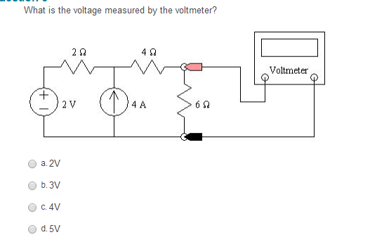 What is the voltage measured by the voltmeter?