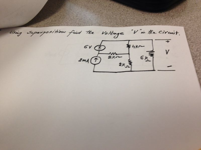 Using superposition find the voltage