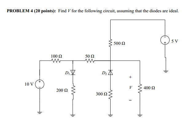 Find V for the following circuit, assuming that th